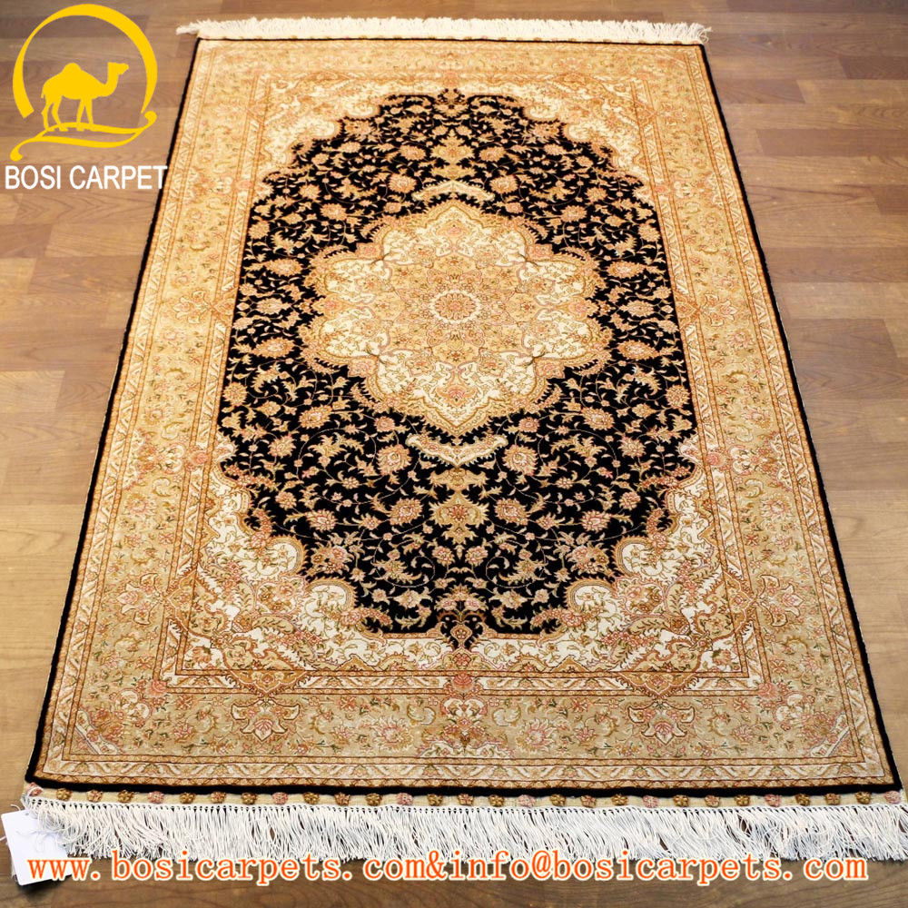 4x6ft goldern yellow handmade silk rug and carpet turkish silk area prayer carpet rug turkey prayer rug