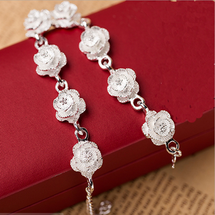 925 Sterling Silver Bracelet with Rose Shape Grinding Small Camellia Joker Bracelet HY16102802