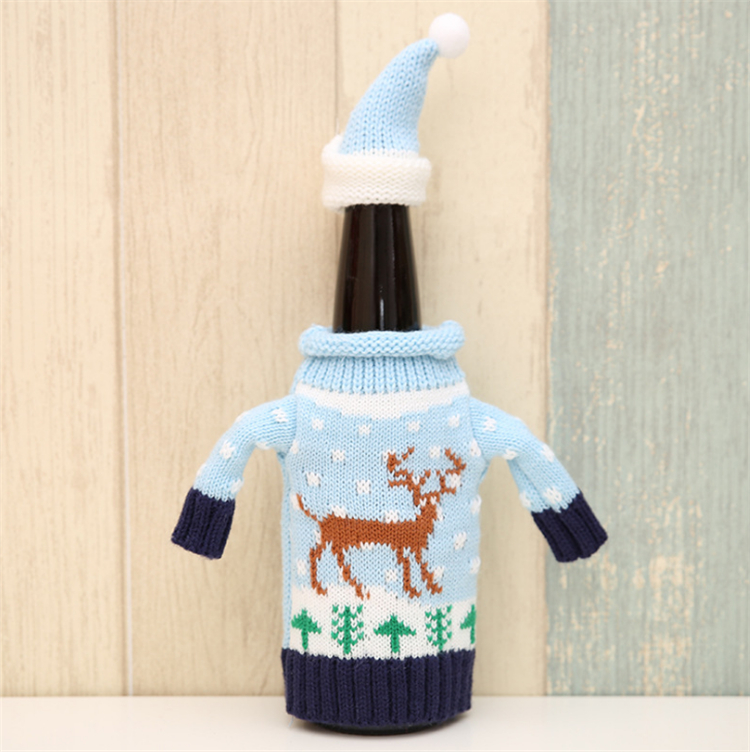 Knitted wool christmas wine bottle ornament christmas