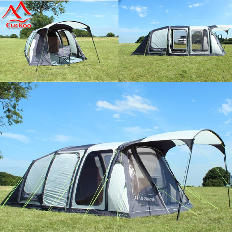 5 man air sealed inflatable tent with window and 4 room