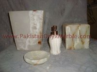 Natural White onyx bathroom accessories