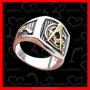 White+gold plated stainless steel signet rings for men