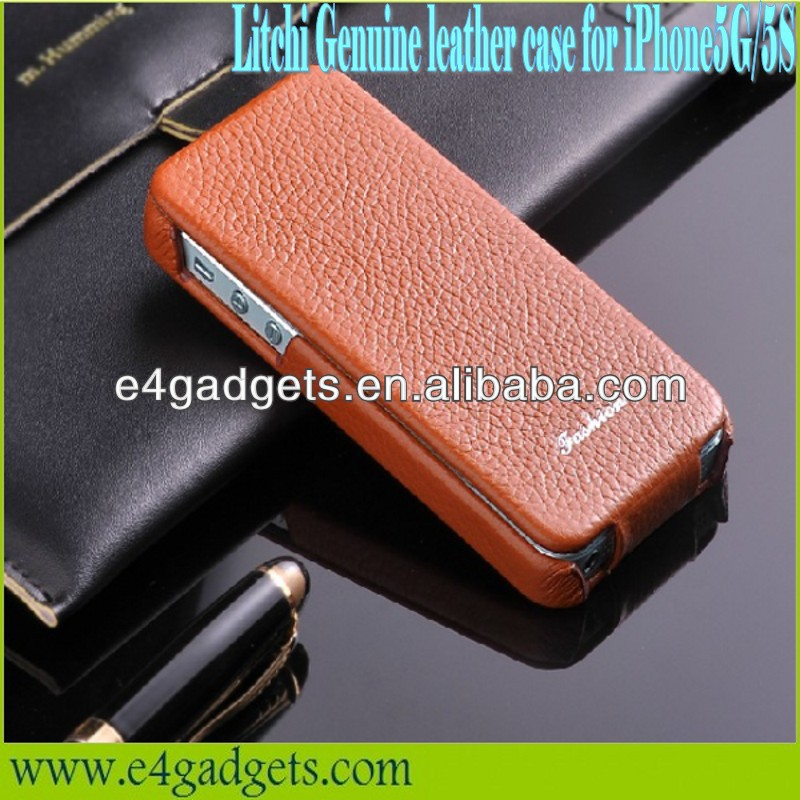 New Arrival Vertical Flip Litchi Texture cowhide flip Leather Case for iPhone 5,for iphone5 flip leather case