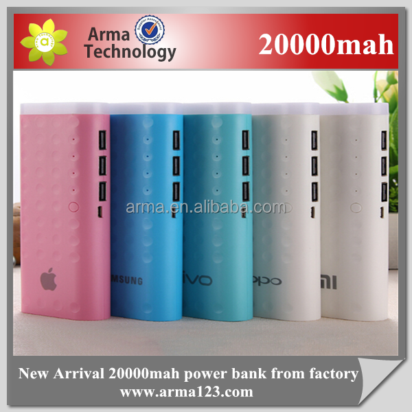 Factory new 20000mah power bank 3 USB charging power mobile phone charger power bank