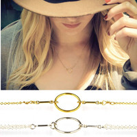 Wholesale Minimalist Jewelry Circle Ring Karma 925 Sterling Silver Fashion Necklace for Girl Gift