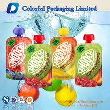 custom printed plastic foil spout pouch for fruit juice packaging China manufacturer