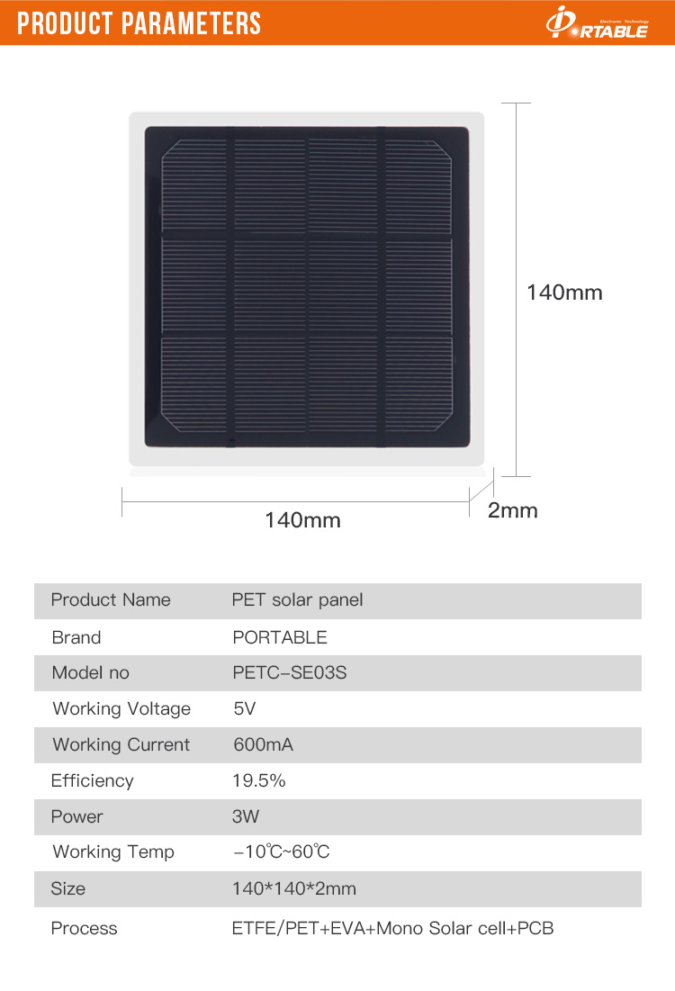 3w 5v PET Solar Panel Mini Solar Cells Module DIY Solar Charger System