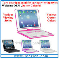 LBK156 For iPad mini keyboard with 360 degree rotation ABS case keyboard for Christams gift