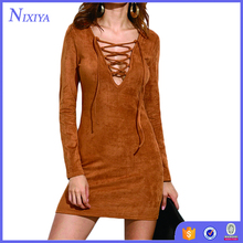 Sexy Mini Long Sleeve Camel Faux Suede Lace Up Bodycon Dress