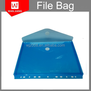 Envelop shaped transparent plastic PP/PVC document holder with gluing button