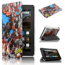 Slim Case for Amazon Kindle Fire 7 with Magic Bike PU Leather Magnetic Case