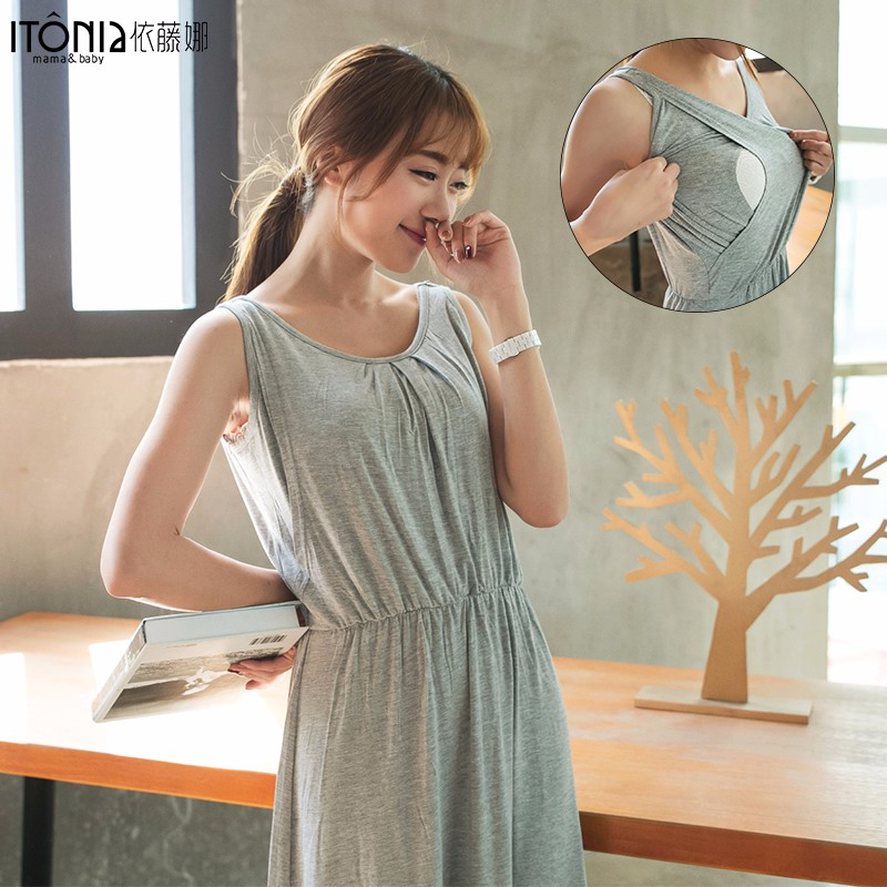 Foshan factory fashion beautiful sexy maternity dress without sleeve for pregnant women summer wearing