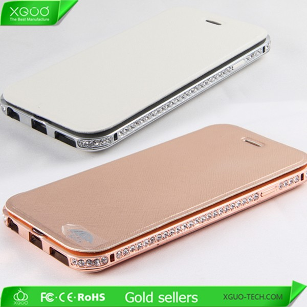 Luxury diamond metal bumper with cover for iphone 6