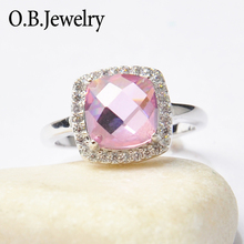 Fashionable Pink Stone Finger Ring Hand Made Jewelry Ring For Women