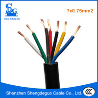 300/500v pvc insulated copper control 7x0.75mm2 flexible cable