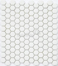 Snowy white enamel glass mosaic tiles wall and floor