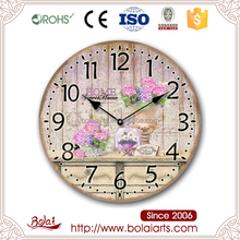Sweet home clusters pink flowers round shape wall hanging paper crafts clock
