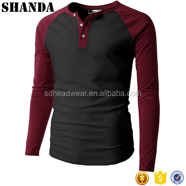 Mens Casual Slim Fit Raglan Baseball 3/4 Sleeve Henley T-Shirts Wholesale