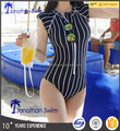 2017 Girl's vertical stripe slim one piece swimwear.