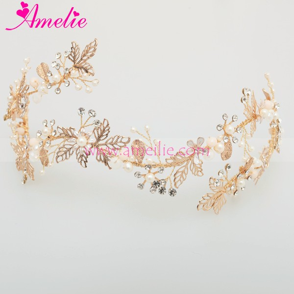 2017 New Gold Plated Victorian Wedding Dress Accessories Crown Bridal Wedding Pageant Tiara