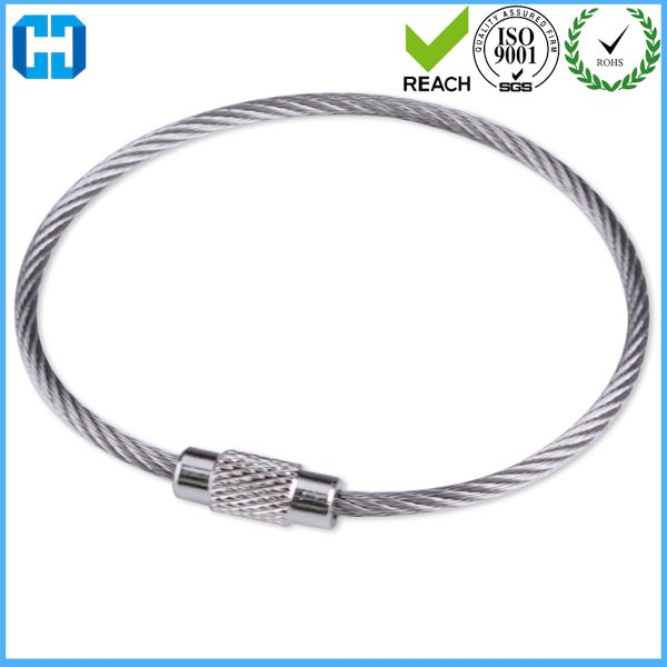 Stainless Steel Wire Rope Key Ring Chain Pendant Loop With Lock