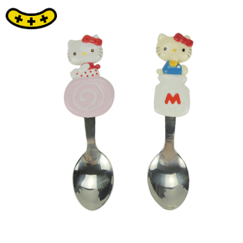 Factory stainless steel plastic cartoon handle children spoon made in China