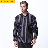 2015 High quality new design mens polo collar striped dress shirt