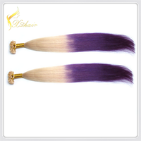 Fashion ladies two tone straight ombre bundles 100% remy flat tip human hair extension wholesale brazilian virgin hair