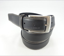 The simple stylish leather black mens pin buckle belt