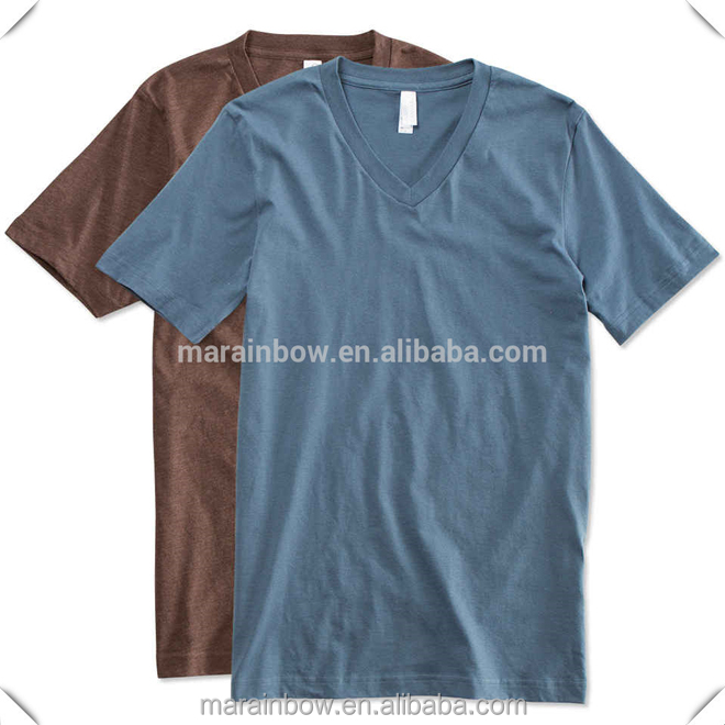 Custom high quality Canvas lightweight combed cotton Jersey V-Neck T-shirt for men wholesale made in China MaRainbow