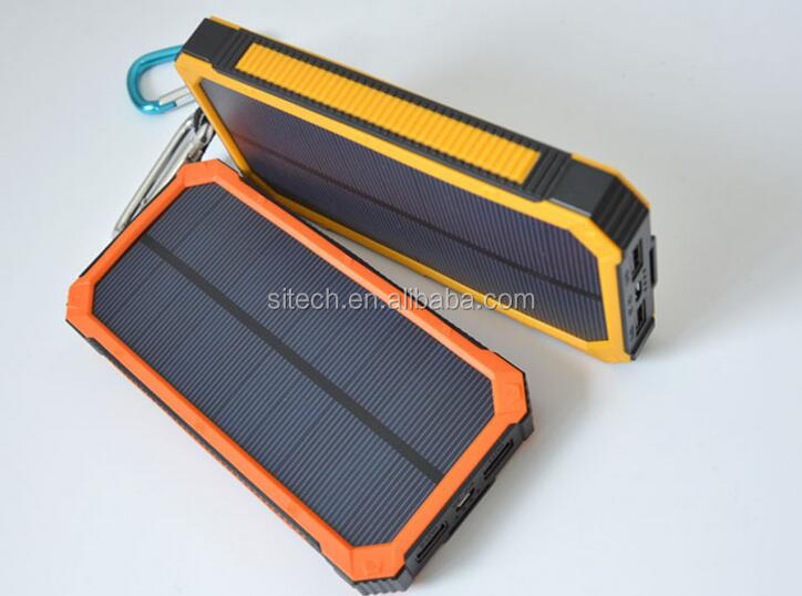 high efficency solar panel waterproof portable 12000mah solar cell phone charger for mobile phone
