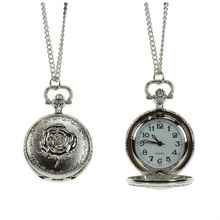 2012 latest long chain pocket rose watch necklace