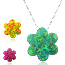 New Model Lady Necklace Silver Chain Opal Jewellery Flowers Shaped Pendant Necklaces