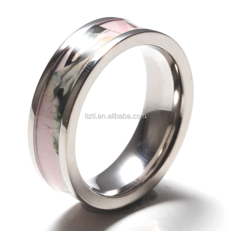 Custom titanium wedding band cheap wholesale camo stainless steel ring