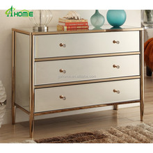 Mirrored Furniture Copper Frame Lowboy Chest of Drawers