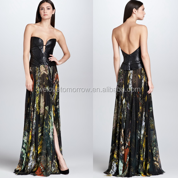 Abstract-Print Pleated Silk Maxi Skirt, quality brand cocktail party dress, sexy floral dress, exotic gowns(TW0096MD)