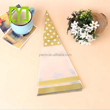 Customized V shape transparent popcorn /candy plastic bags cone/ triangle shapeed plastic bag