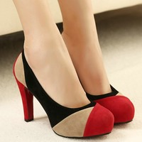 woman high heels mixed color shoes 2016 autumn