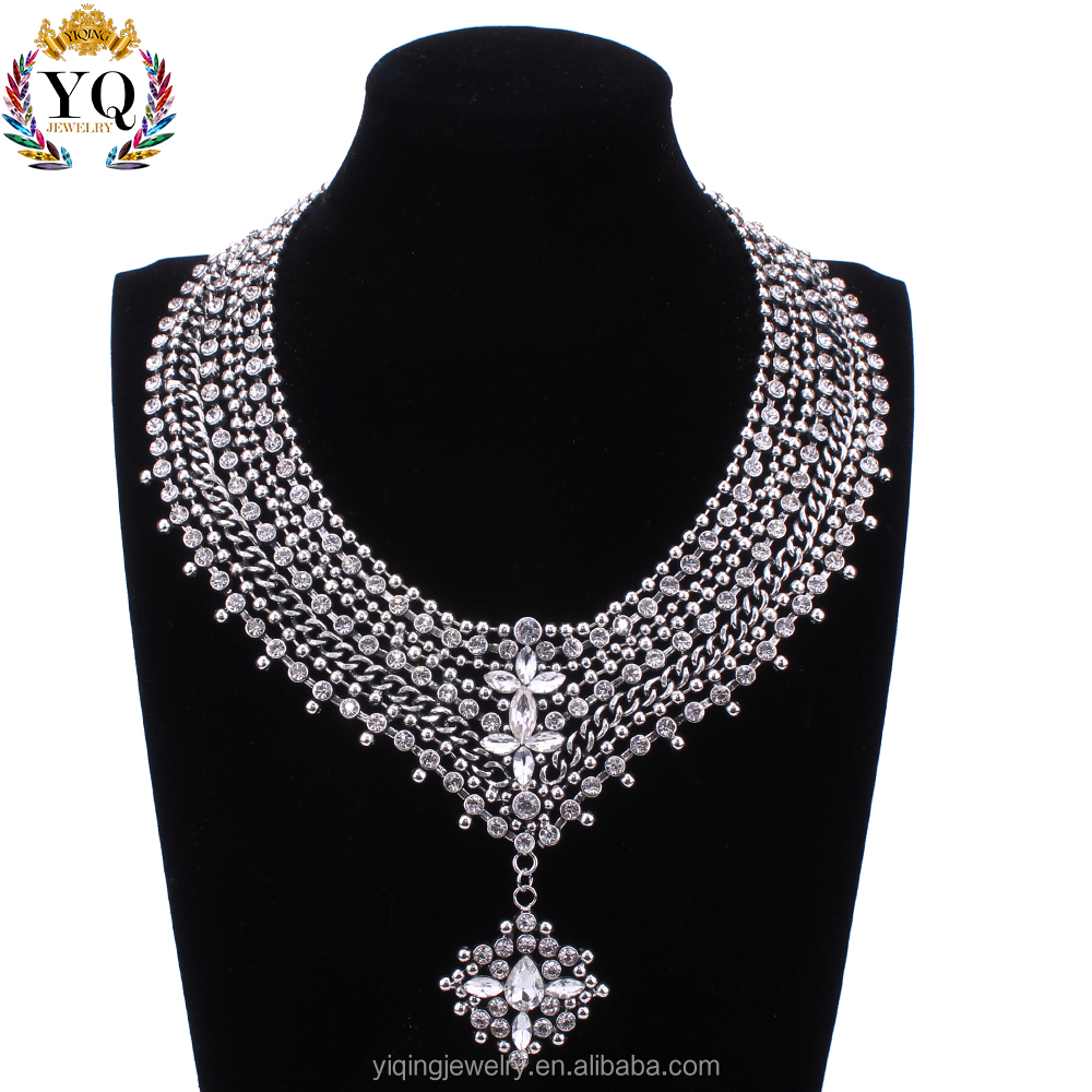 NYQ-00723 silver plated crystal statement jewelry necklace