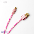 2016 Metal head 1m 19AWG OD 08 PVC LED Light Sugar Micro USB Cable for android for iphone