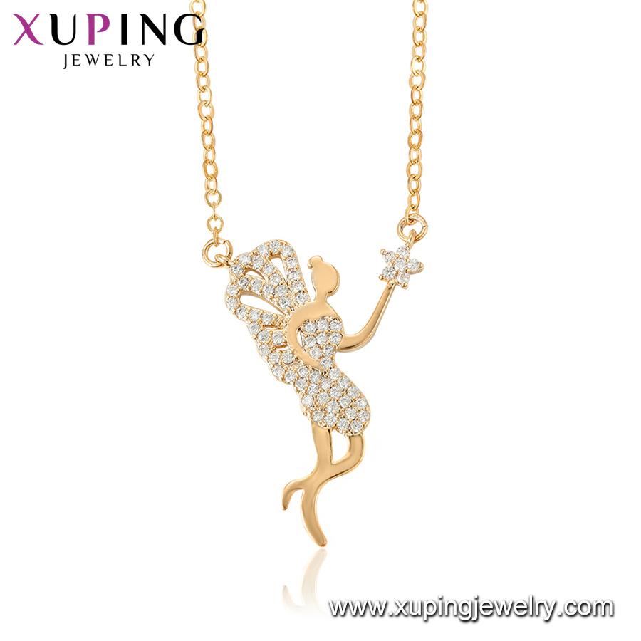 44482 xuping latest design model magnetic 18k gold plated pendant necklace with beautiful angel