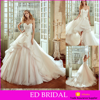 New Arrival Sweetheart Handmade Flower 2 Piece High Low Wedding Dresses Removable Skirt