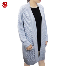 CHINA MANUFACTURER WARM WINNTER SWEATER LADIES' LONG KNITTED CABLE CARDIGAN SWEATER