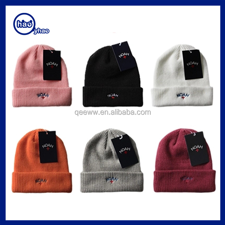 Alibaba No minimum Custom Black Knit Hat/ Beanie/ Winter Cashmere Hat Embroidered Logo 2016 Wholesale