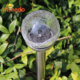 Crackle Glass Globe Outdoor Color Changing Stainless Steel Solar Garden Light