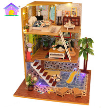 Christmas gift cute room miniature 3d diy wooden toys to <strong>kids</strong>