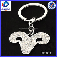 Promotion fashion diamond cow horn craft keychain