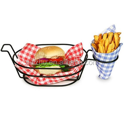 Fry Basket Fast Food Metal Wire Storage Basket with Chips Cone Holder