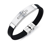 Cheap Europe Silver Stainless Steel Religious Cross Silicone Bracelet for Men