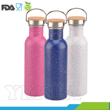 750ml Custom Stainless Steel Water Bottle Bamboo lid for eco friendly